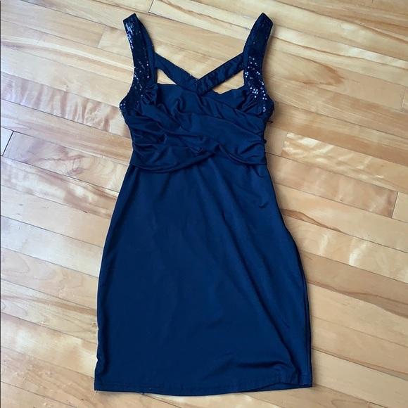 Black Mini Dress with Crisscross Back Straps